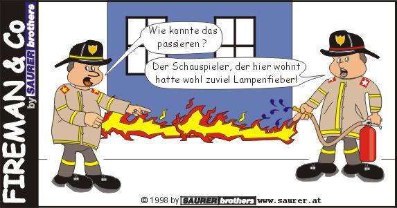 Feuerwehrcartoon Lampenfieber