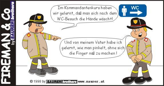 Feuerwehrcartoon Hände waschen