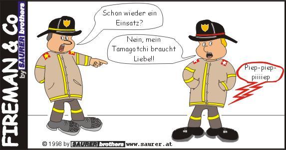 Feuerwehrcartoon Einsatz